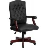 Martha Washington Black Leather Executive Swivel Chair [801L-LF0005-BK-LEA-GG]