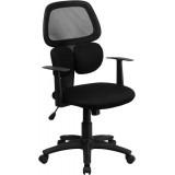 Mid-Back Black Mesh Chair with Flexible Dual Lumbar Support [BT-2755-BK-GG]