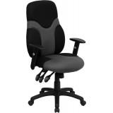 High Back Ergonomic Black and Gray Mesh Task Chair with Adjustable Arms [BT-6001-GYBK-GG]