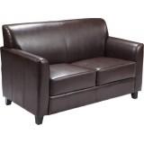 HERCULES Diplomat Series Brown Leather Love Seat [BT-827-2-BN-GG]