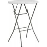 32'' Round Granite White Plastic Bar Height Folding Table [DAD-YCZ-80R-2-BAR-GW-GG]