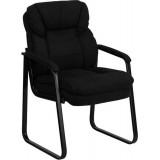 Black Microfiber Executive Side Chair with Sled Base [GO-1156-BK-GG]