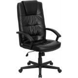 High Back Black Leather Executive Office Chair [GO-7102-GG]