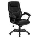 High Back Black Leather Overstuffed Executive Office Chair [GO-724H-BK-LEA-GG]