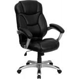 High Back Black Leather Contemporary Office Chair [GO-725-BK-LEA-GG]