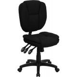 Mid-Back Black Fabric Multi-Functional Ergonomic Task Chair [GO-930F-BK-GG]