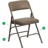 HERCULES Series Curved Triple Braced & Quad Hinged Beige Vinyl Upholstered Metal Folding Chair [HA-MC309AV-BGE-GG]