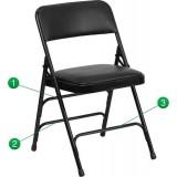 HERCULES Series Curved Triple Braced & Quad Hinged Black Vinyl Upholstered Metal Folding Chair [HA-MC309AV-BK-GG]
