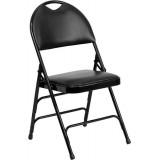 HERCULES Series Extra Large Ultra-Premium Triple Braced Black Vinyl Metal Folding Chair with Easy-Carry Handle [HA-MC705AV-3-BK-GG]