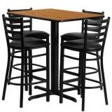 24''W x 42''L Rectangular Natural Laminate Table Set with 4 Ladder Back Metal Bar Stools - Black Vinyl Seat [HDBF1019-GG]