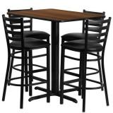 24''W x 42''L Rectangular Walnut Laminate Table Set with 4 Ladder Back Metal Bar Stools - Black Vinyl Seat [HDBF1020-GG]