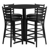 30'' Round Black Laminate Table Set with 4 Ladder Back Metal Bar Stools - Black Vinyl Seat [HDBF1021-GG]