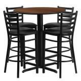 30'' Round Walnut Laminate Table Set with 4 Ladder Back Metal Bar Stools - Black Vinyl Seat [HDBF1024-GG]