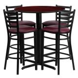 30'' Round Mahogany Laminate Table Set with 4 Ladder Back Metal Bar Stools - Burgundy Vinyl Seat [HDBF1026-GG]