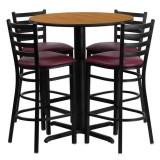 30'' Round Natural Laminate Table Set with 4 Ladder Back Metal Bar Stools - Burgundy Vinyl Seat [HDBF1027-GG]