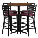30'' Round Walnut Laminate Table Set with 4 Ladder Back Metal Bar Stools - Burgundy Vinyl Seat [HDBF1028-GG]