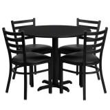 36'' Round Black Laminate Table Set with 4 Ladder Back Metal Chairs - Black Vinyl Seat [HDBF1029-GG]