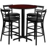24'' Round Mahogany Laminate Table Set with 4 Ladder Back Metal Bar Stools - Black Vinyl Seat [HDBF1034-GG]