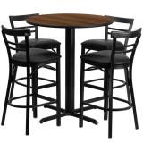 24'' Round Walnut Laminate Table Set with 4 Ladder Back Metal Bar Stools - Black Vinyl Seat [HDBF1036-GG]