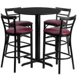24'' Round Black Laminate Table Set with 4 Ladder Back Metal Bar Stools - Burgundy Vinyl Seat [HDBF1037-GG]