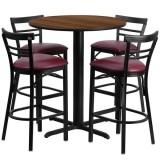 24'' Round Walnut Laminate Table Set with 4 Ladder Back Metal Bar Stools - Burgundy Vinyl Seat [HDBF1040-GG]