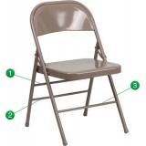 HERCULES Series Triple Braced & Quad Hinged Beige Metal Folding Chair [HF3-MC-309AS-BGE-GG]