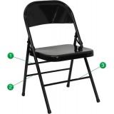 HERCULES Series Triple Braced & Quad Hinged Black Metal Folding Chair [HF3-MC-309AS-BK-GG]