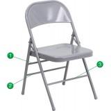 HERCULES Series Triple Braced & Quad Hinged Gray Metal Folding Chair [HF3-MC-309AS-GY-GG]