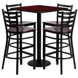 30'' Square Mahogany Laminate Table Set with 4 Ladder Back Metal Bar Stools - Mahogany Wood Seat [MD-0014-GG]