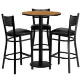 30'' Round Natural Laminate Table Set with 3 Grid Back Metal Bar Stools - Black Vinyl Seat [MD-0016-GG]