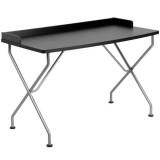 Black Computer Desk with Silver Frame [NAN-JN-2116-BK-GG]