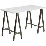 White Computer Desk with Brown Frame [NAN-JN-2834W-WH-GG]