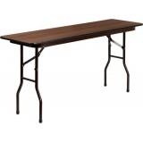 18'' x 60'' Rectangular Walnut Melamine Laminate Folding Training Table [RB-1860-MEL-MAH-GG]