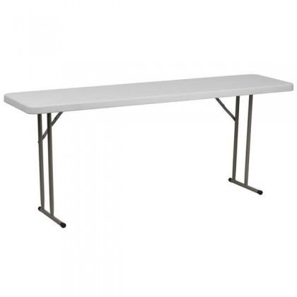 18''W x 72''L Granite White Plastic Folding Training Table [RB-1872-GG]