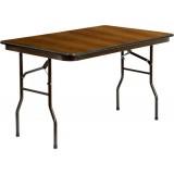30'' x 48'' Rectangular Walnut Melamine Laminate Folding Banquet Table [RB-3048-MEL-MAH-GG]