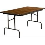 30'' x 60'' Rectangular Walnut High Pressure Laminate Folding Banquet Table [RB-3060-HIGH-MAH-GG]