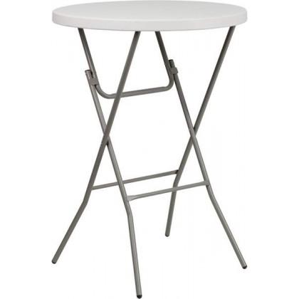 32'' Round Granite White Plastic Bar Height Folding Table [RB-32RB-BAR-GW-GG]