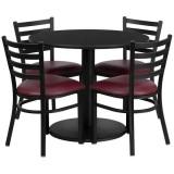 36'' Round Black Laminate Table Set with 4 Ladder Back Metal Chairs - Burgundy Vinyl Seat [RSRB1005-GG]