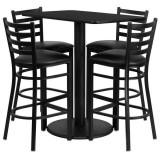 24'' x 42'' Rectangular Black Laminate Table Set with 4 Ladder Back Metal Bar Stools - Black Vinyl Seat [RSRB1017-GG]