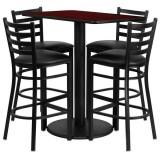 24'' x 42'' Rectangular Mahogany Laminate Table Set with 4 Ladder Back Metal Bar Stools - Black Vinyl Seat [RSRB1018-GG]