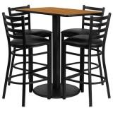 24'' x 42'' Rectangular Natural Laminate Table Set with 4 Ladder Back Metal Bar Stools - Black Vinyl Seat [RSRB1019-GG]
