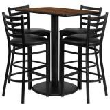 24'' x 42'' Rectangular Walnut Laminate Table Set with 4 Ladder Back Metal Bar Stools - Black Vinyl Seat [RSRB1020-GG]