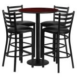 30'' Round Mahogany Laminate Table Set with 4 Ladder Back Metal Bar Stools - Black Vinyl Seat [RSRB1022-GG]