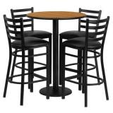 30'' Round Natural Laminate Table Set with 4 Ladder Back Metal Bar Stools - Black Vinyl Seat [RSRB1023-GG]