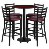 30'' Round Mahogany Laminate Table Set with 4 Ladder Back Metal Bar Stools - Burgundy Vinyl Seat [RSRB1026-GG]