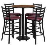 30'' Round Walnut Laminate Table Set with 4 Ladder Back Metal Bar Stools - Burgundy Vinyl Seat [RSRB1028-GG]