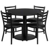 36'' Round Black Laminate Table Set with 4 Ladder Back Metal Chairs - Black Vinyl Seat [RSRB1029-GG]