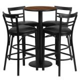 24'' Round Walnut Laminate Table Set with 4 Ladder Back Bar Stools - Black Vinyl Seat [RSRB1036-GG]
