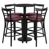 24'' Round Black Laminate Table Set with 4 Ladder Back Metal Bar Stools - Burgundy Vinyl Seat [RSRB1037-GG]