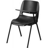 Black Ergonomic Shell Chair with Left Handed Flip-Up Tablet Arm [RUT-EO1-BK-LTAB-GG]